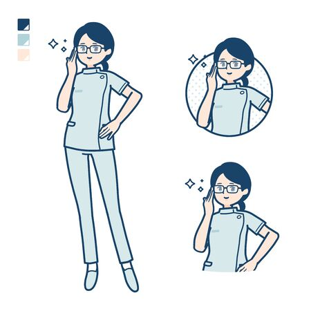 A young nurse woman with Wearing glasses images.It's vector art so it's easy to edit. Illusztráció