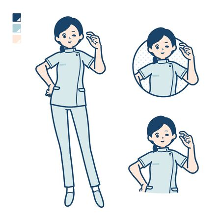 A young nurse woman with Just a bit Hand sign images.It's vector art so it's easy to edit.