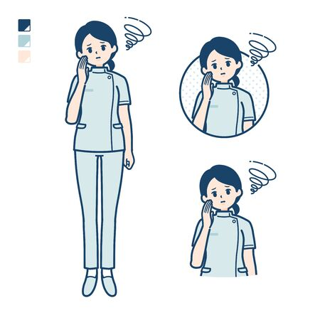 A young nurse woman with be troubled images.