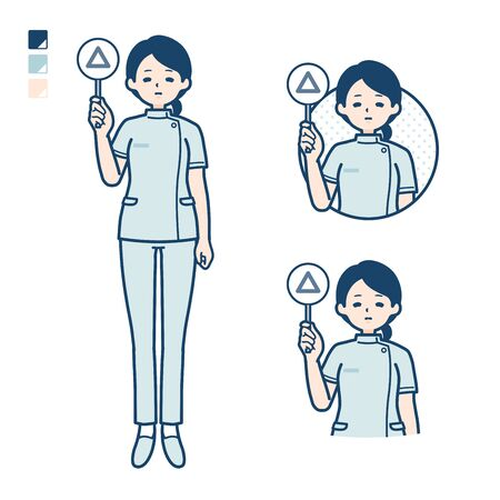 A young nurse woman with Put out a Triangle panel image.