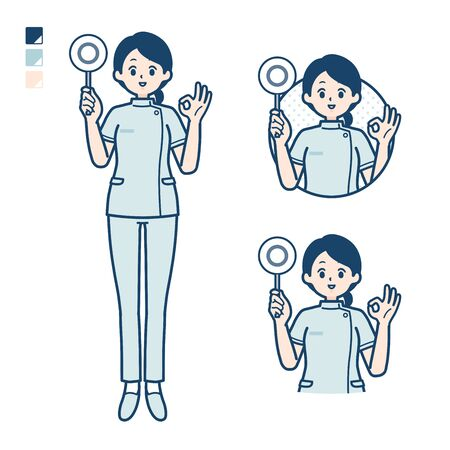 A young nurse woman with Put out a circle panel image.