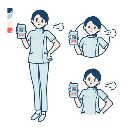 A young nurse woman with cashless payment on smartphone Troubled images.