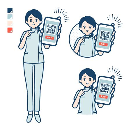 A young nurse woman with cashless payment on smartphone images.