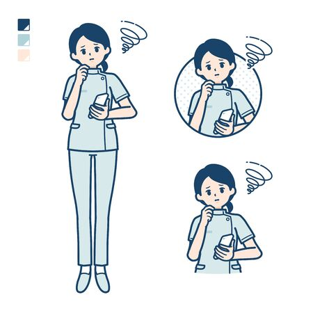 A young nurse woman with Holding a smartphone and troubled images.