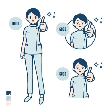 A young nurse woman with Thumbs up images.It's vector art so it's easy to edit.  イラスト・ベクター素材