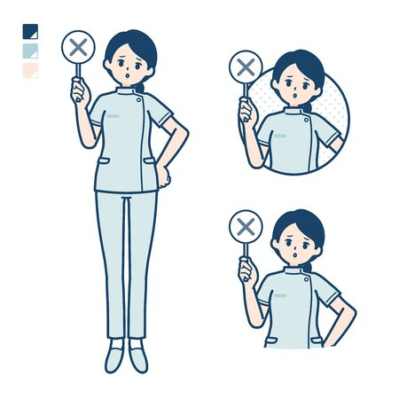 A young nurse woman with Put out a cross panel image.