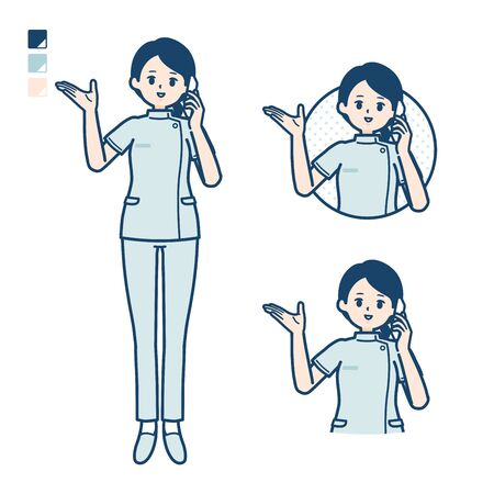 A young nurse woman with Call on smartphone images.It's vector art so it's easy to edit. Vektoros illusztráció