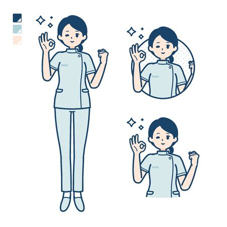 A young nurse woman with OK sign images.It's vector art so it's easy to edit.