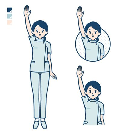 A young nurse woman with raise hand images.