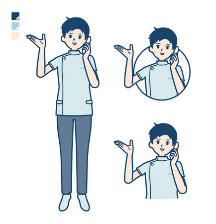 A young nurse man with Making a Cross with arms images.