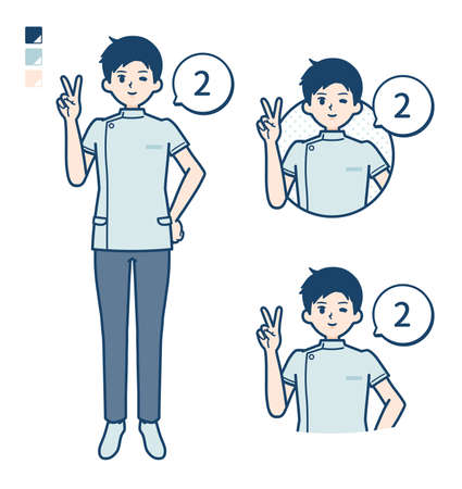 A young nurse man with Counting as 2 images.