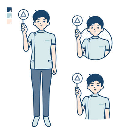 A young nurse man with Put out a Triangle panel image.It's vector art so it's easy to edit. 일러스트