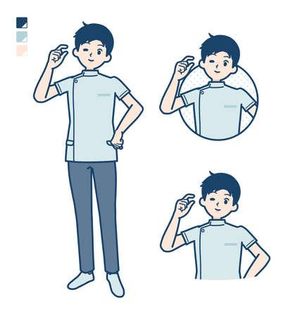 A young nurse man with Just a bit Hand sign images.It's vector art so it's easy to edit.