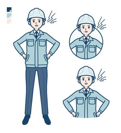 A Man wearing workwear with anger images.
