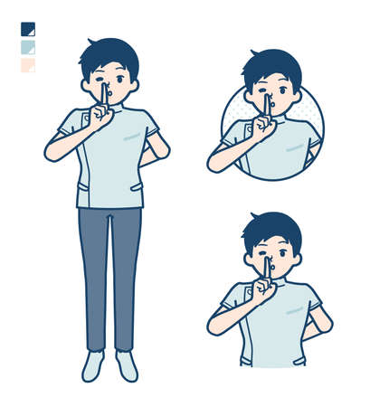 A young nurse man with be quiet hand sign images.It's vector art so it's easy to edit.