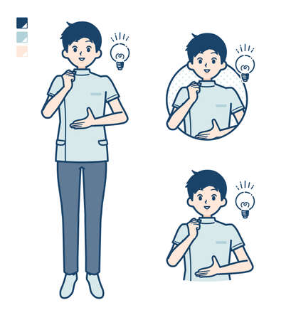 A young nurse man with came up with images.It's vector art so it's easy to edit.