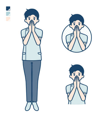 A young nurse man with Surprised and uneasy images.
