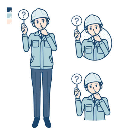 A Man wearing workwear with Put out a question panel image.It's vector art so it's easy to edit.