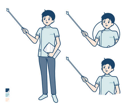 A young nurse man with Explanation with a pointing stick image.It's vector art so it's easy to edit.