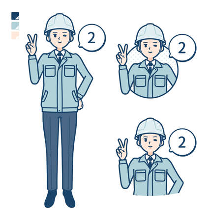 A Man wearing workwear with Counting as 2 images.
