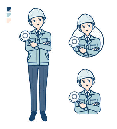 A Man wearing workwear with Think about the answer image.It's vector art so it's easy to edit.