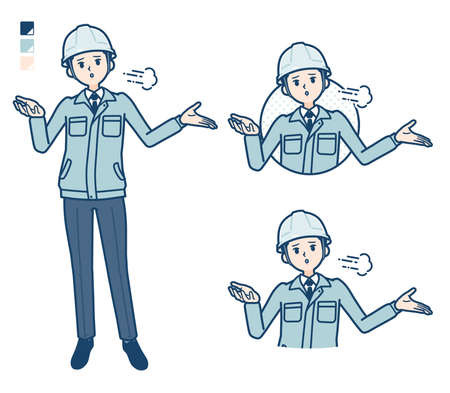 A Man wearing workwear with Discouraged images.