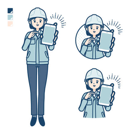 A woman wearing workwear with Offer a smartphone images.