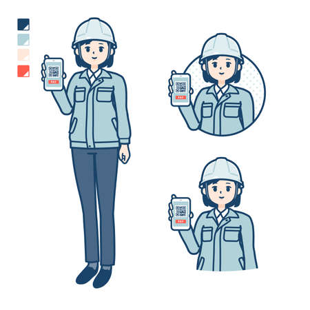 A woman wearing workwear with cashless payment on smartphone images.