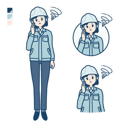 A woman wearing workwear with be troubled images.It's vector art so it's easy to edit.