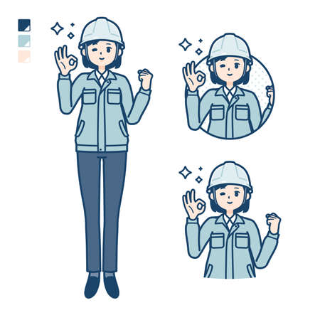 A woman wearing workwear with OK sign images.It's vector art so it's easy to edit.