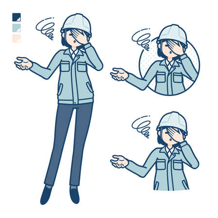A woman wearing workwear with Discouraged head images.It's vector art so it's easy to edit.