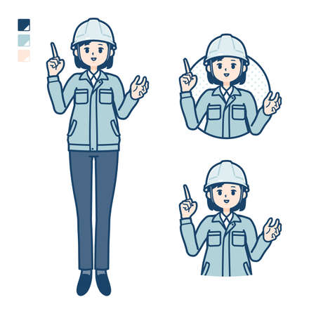 A woman wearing workwear with speaking image.