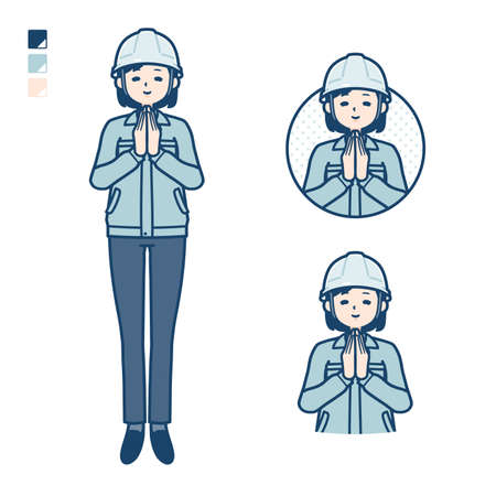 A woman wearing workwear with press hands in prayer images.