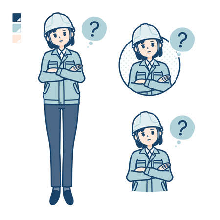 A woman wearing workwear with Question images.