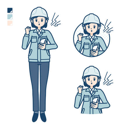 A woman wearing workwear with Holding a smartphone and anger images.