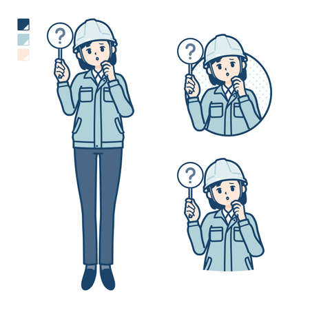 A woman wearing workwear with Put out a question panel image.It's vector art so it's easy to edit.