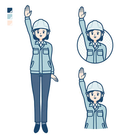 A woman wearing workwear with raise hand images.