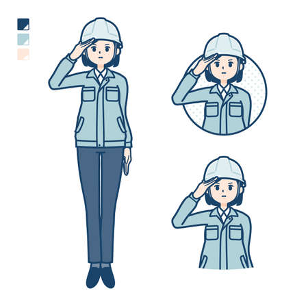 A woman wearing workwear with salute images.
