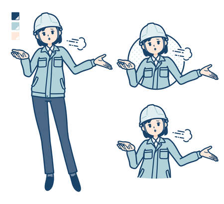 A woman wearing workwear with Discouraged images.
