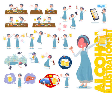 A set of mom related to alcohol.There is a lively appearance and action that expresses failure about alcohol.It's vector art so it's easy to edit. Ilustração
