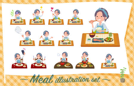 A set of mom about meals.Japanese and Chinese cuisine, Western style dishes and so on.It's vector art so it's easy to edit. Ilustração