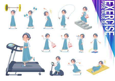 A set of mom on exercise and sports.There are various actions to move the body healthy.It's vector art so it's easy to edit. Ilustração