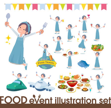 A set of mom on food events.There are actions that have a fork and a spoon and are having fun.It's vector art so it's easy to edit.