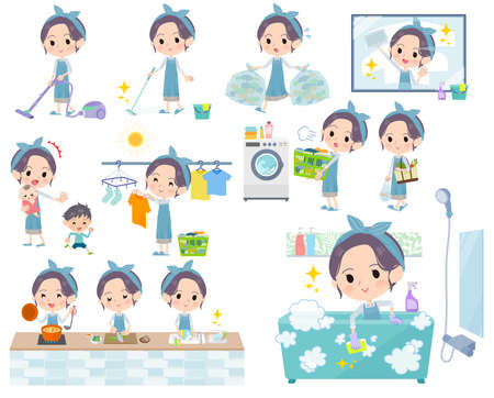 A set of mom related to housekeeping such as cleaning and laundry.There are various actions such as cooking and child rearing.It's vector art so it's easy to edit. Stock Illustratie