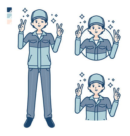 A Man wearing workwear with Punch in front images.It's vector art so it's easy to edit.