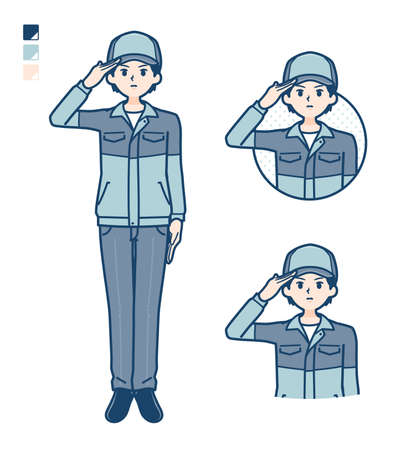 A Man wearing workwear with Relaxed pose images.