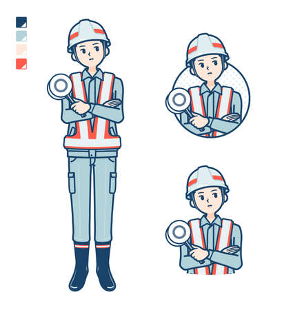 A Man wearing workwear with raise hand images.It's vector art so it's easy to edit.