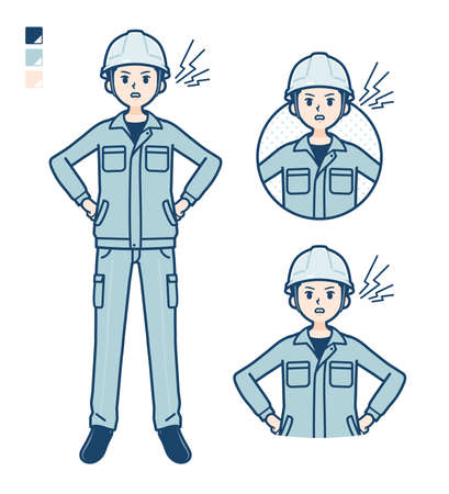 A Man wearing workwear with press hands in prayer images.It's vector art so it's easy to edit.