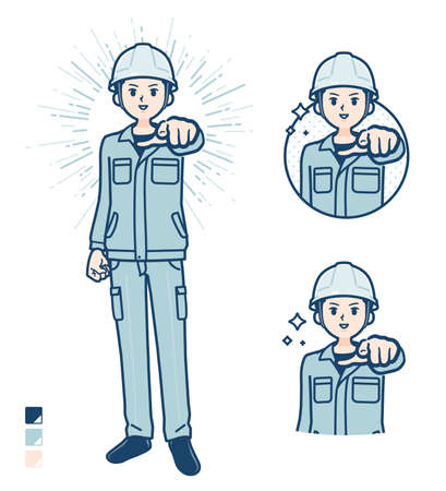 A Man wearing workwear with Counting as 1 images.It's vector art so it's easy to edit.