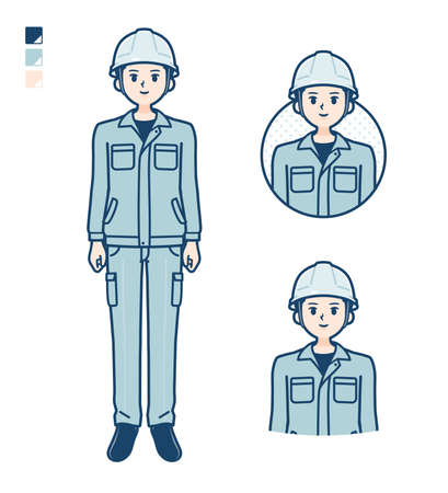 A Man wearing workwear with fist pump images.